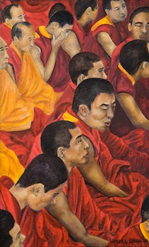 16 Monks (Arhats), Miniature painting, Oil on Board, 1996, by Uriél Danā