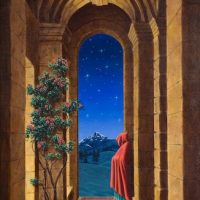 Miniature painting, 16 Monks (Arhats), Oil on Board, 1996, by Uriél Danā