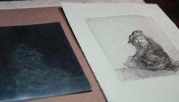 Rembrandt van Rijn self portrait etching