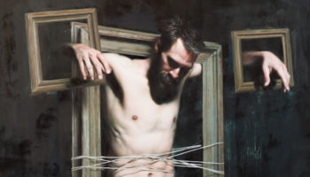 Paintings under Glass - Mitch Griffith - Detail of Man In The Frame